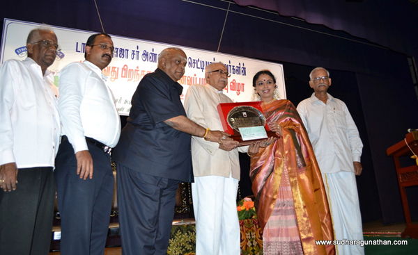 Sudha was the recipient of The Dr.Sir Rajah Annamalai Chettiar Birthday Commemoration Award given in recognition of her role in the promotion of Tamil music. The Award giving ceremony was on 30 Sept 2011 at the Rani Seethai Hall, Chennai.