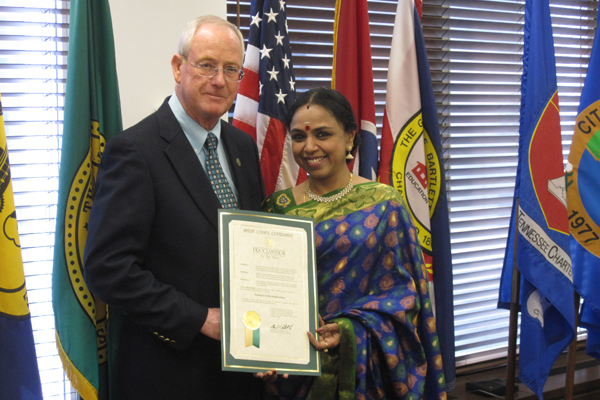 The Honorable Mark H. Luttrell, Jr., Mayor of Shelby County, Tennessee presented a proclamation and citation to Sudha Ragunathan in recognition of her accomplishments in the field of Carnatic music. The Citation was handed over at the Mayor's Office in Tennessee