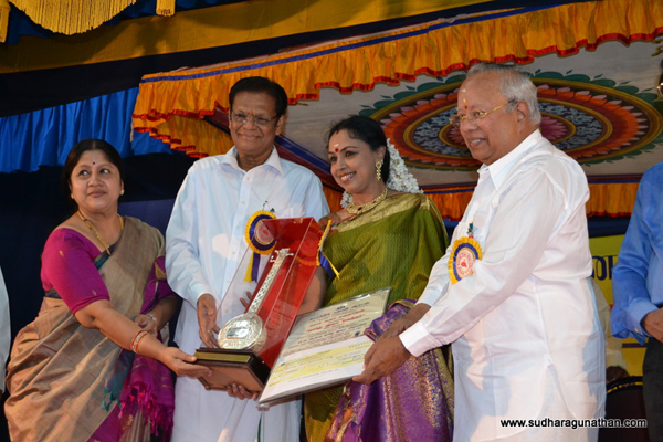 The title of Tamizh Isai Vendhar was conferred upon Sudha on 25 December, 2011 by Shri L Sabaretnam for Kartik Fine Arts at their Tamizh Isai Festival conducted at Valliammal College, Anna Nagar, Chennai