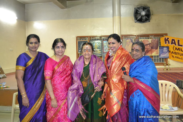 The title Sangita Vidya Praveena was conferred on Sudha Ragunathan by Mrs. Y G Parthasarathy during Kala Kruthi's annual music festival. The event was held at Sankaralayam, 63, Mayor Ramanathan Road, Chetpet, Chennai 600031