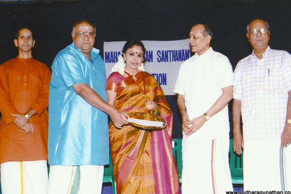 Sudha received the Maharajapuram Santhanam Memorial Award (2011) from Shri Cleveland VV Sundaram at Vani Mahal, Chennai