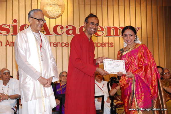 Sudha was awarded the Season's best Senior Vocalist for 2010 by the Music Academy