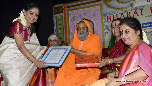 Sudha received the Vishwa Kala Bharathi Award (Bharat Kalachar) from Swami Dayananda Saraswathi